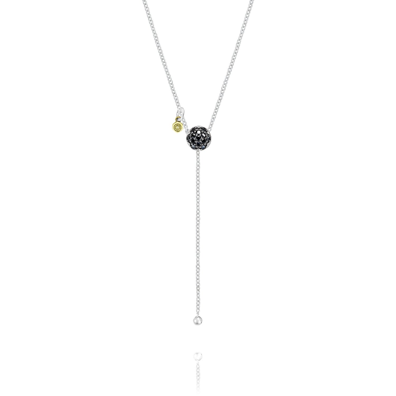 Tacori SN21844 Sterling Silver Sonoma Mist Black Diamonds Pavé Dew Drop Lariat Necklace, 26'' (0.19 cttw, H to I Color, I2 to I3 Clarity)