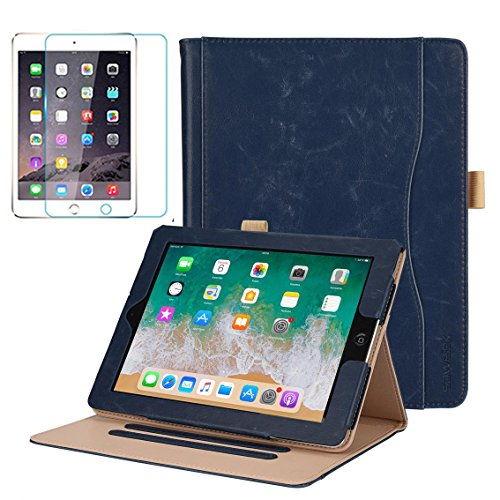 - iPad Mini 1/2/3 Folio Case, Soweiek Premium Leather Business Magnetic Smart Cover with Wake/Sleep Feature,Hand Strap,Stylus Holder and Screen Protector, Navy Blue