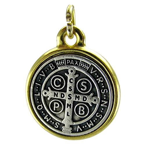 - Medalla De San Benito Saint St Benedict Medallion Antiqued Two Tone Silver & Gold Finish 20mm Medal