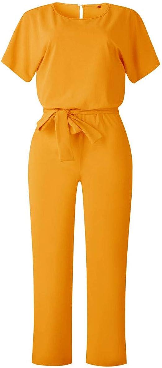 SUNNSEAN Pantalones Largos Elegante Verano Tallas Grandes Mono de Manga Corta se/ñoras Jumpsuit Monos Mujer Fiesta Playsuits con Cintur/ón de Lazo Clubwear Monos Monos de Vestir Mujer