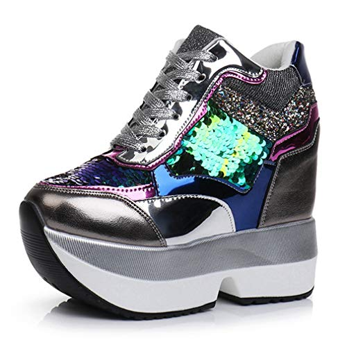 Women's Sparkle Sequins High Top Wedge Fashion Sneakers Hidden Heel Platform Casual Shoes White