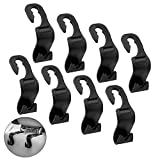 #4: IPOW 8 Pack Strong Car Back Seat Headrest Hanger,Easy Installation SUV Storage Easy Hooks for Bag Purse Cloth Grocery