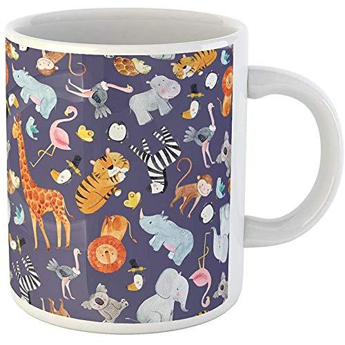 11oz Coffee Mugs Tea Cups Gifts Cute Watercolor Pattern Safari Different Tropical Animals Zebra Lion Tiger Ceramic Coffee Mugs Tea Cup Souvenir