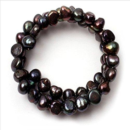 7mm Genuine Black Pearl Bracelet - 5