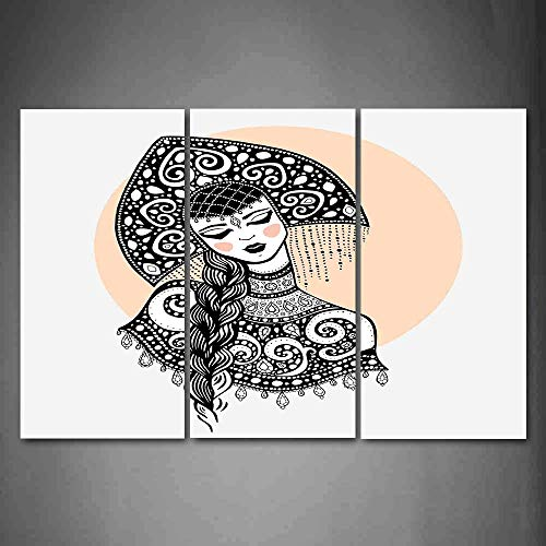 (Hanging Wall Art Oil Painting 3 Panel,Russian 3D Picture Print,Ethnic Slavic Woman in Folk Clothes Ornamental Moscow Graphic Art,Home Decoration Wall Decor Gift,Black White and Pale Peach)
