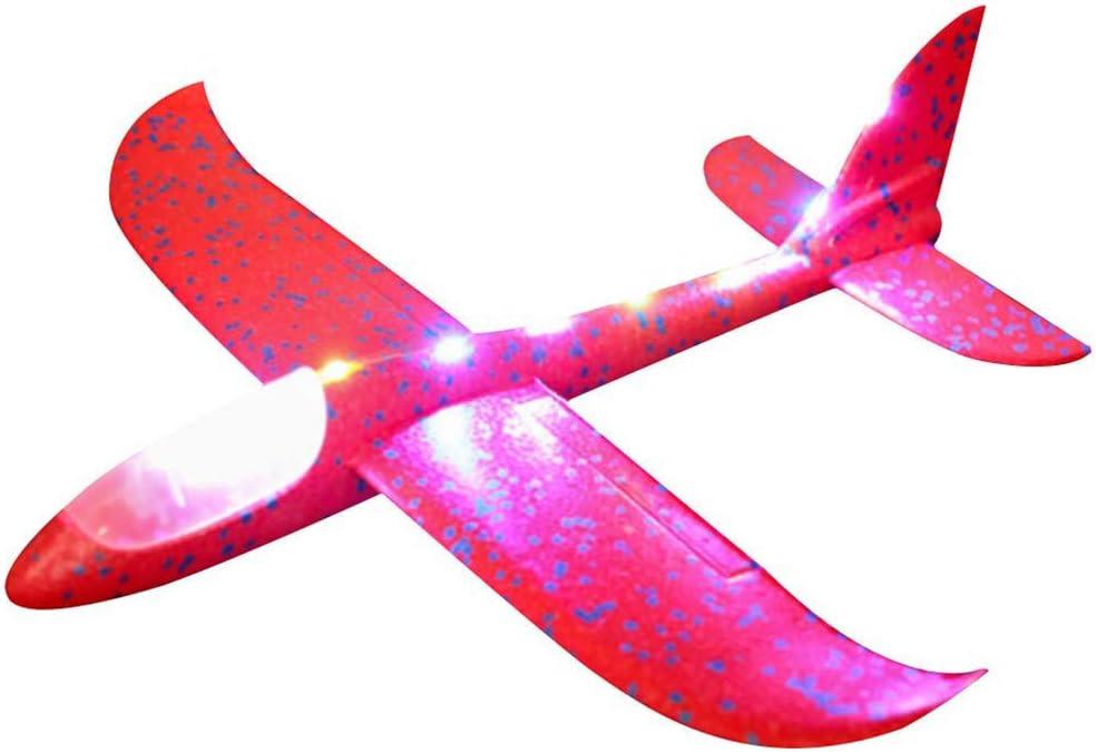 Hihey Throw Planeur LED Styromousse Avion Nuit D/émarrage Inertia Mousse Planeur Throw Throw Mod/èle Volant /Équipement De Jeu en Plein Air