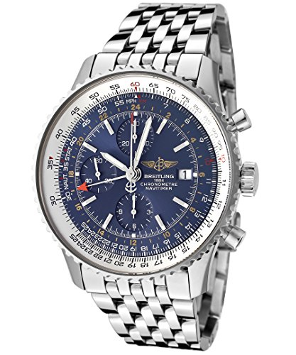Breitling Men's Navitimer Automatic Mechanical GMT Chrono Blue Dial Stainless Steel