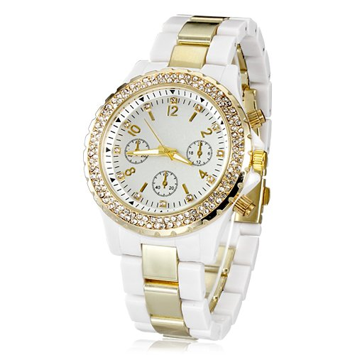 dial de diamante de oro de la moda reloj de las mujeres: Amazon.es: Relojes