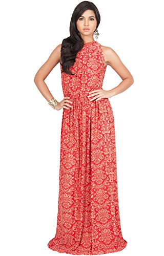 KOH KOH Plus Size Womens Long Sexy Sleeveless Halter Neck Summer Spring Formal Flowy Print Casual Formal Evening Wedding Guest Gown Gowns Maxi Dress Dresses, Red and Beige XL (Halter Wedding Gown Dress)