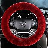 ANDALUS Car Steering Wheel Cover, Fluffy Pure Australia Sheepskin Wool, Universal 15 inch (Dark Red)