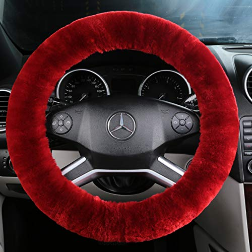 ANDALUS Car Steering Wheel Cover, Fluffy Pure Australia Sheepskin Wool, Universal 15 inch (Dark Red) (Red Fur Wheel Cover)