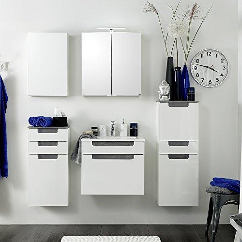 Komplett Badezimmer Set Hochglanz wei Badmbel Badset Waschplatz Spiegelschrank