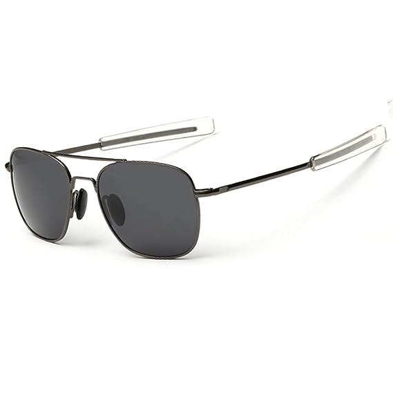 50ffc82f886 WELUK Men s Pilot Aviator Sunglasses Polarized 55mm Military Style with Bayonet  Temples (Gun-grey Grey