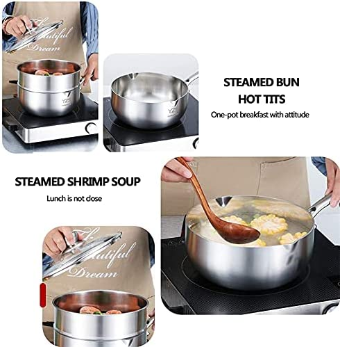 """51ARrTN5LqS. AC Pans for cooking Stainless Steel Steamer Pot Food Steamer Soup Pot Soup Pot Steamer Pot Pot Pot Kettle with Lid Milk Frying Pan Baby Double Layer 20cm    """"Welcome to our mallHappy shopping!Our products have been thoroughly tested, inspected and packaged before delivery.If you have any questions, please feel free to contact us so that we can provide you with the best service.""""NJOLG is committed to providing premium and long-lasting cookware, which inspires your passion for cooking.Are you sick and tired of your old steamer that keeps ruining your hard work? Looking for a solid steamer set that gets the job doneOur steamer can meet your complete cooking needs! You can use it as a pot or combine these components in different steamers. And make sure our steamer uses high quality stainless steel, providing you with a durable and healthy cooking tool. The ebb design of the steaming grill and the multilayer composite material bottom make the food evenly heated and delicious. It is also worth mentioning that the steamer can be compatible with a variety of cookers.Stainless Steel Steamer Pot, Food Steamer Cooking Pot Steamer Steamer Steamer Pot Steamer Boiler with Lid, Baby Kitchen Milk JugProduct Name: Multipurpose steamerProduct Material: SUS304 Stainless SteelProduct Layers: Single / Double Layer SteamerProduct Specification: 18/20 / 22cmSurface Technology: Wire Drawing Polishing TreatmentFeatures: Nonstick pan, fast heat conduction, less oily smoke, energy saving and high efficiencyScope: restaurants, hotels, householdsNote: If you have any questions about the order, please contact us via Amazon. We will get back to you within 24 hours. If you need more styles, you can search our LKDF brand. You will have a satisfactory answer. good day.Chaptersdescriptions off, selectedcaptions off, selectedThis is a modal window.If you are not satisfied with our products, please feel free to contact us, we will contact you within 24 hours. For more related product detai"""