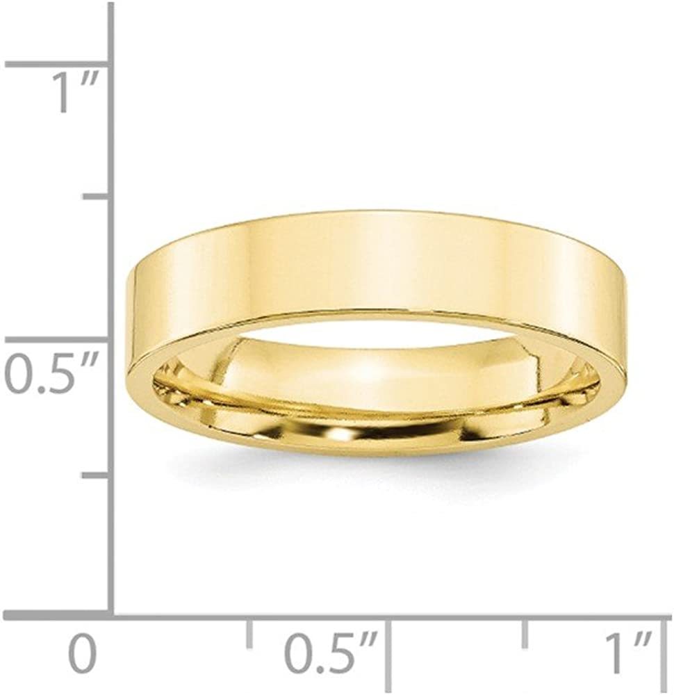 10K Yellow Gold 5mm Standard Flat Comfort Fit Band Ring