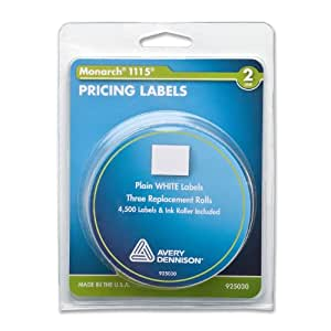 Monarch PAXAR Two-Line Pricemarker Labels, 0.625 x 0.75 Inches, White, 3 Rolls per Pack (925030)