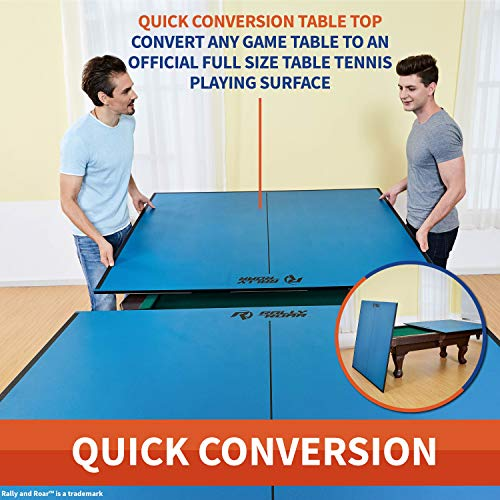 Indoor Table Tennis Conversion Top with Net Set by Rally Roar 2 Piece 5 8 Thick or 4 Piece 1 2 Thick Set – Quick Set Up, Portable Tops, Space Saving Storage, Regulation Tournament Size