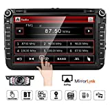 Double Din in Dash Car Stereo for VW Volkswagen Golf/Passat/Polo/Jetta/Tiguan/Touran/Scirocco/Skoda/Seat 8 inch with DVD Player Support GPS Navigation USB RDS Radio Bluetooth … (VW Car Stereo)