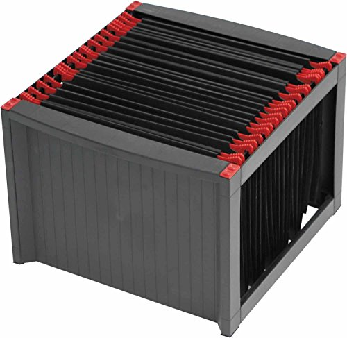 Helit H6110092 - Hängeregistraturgestell, extra stabil, stapelbar, schwarz / rot