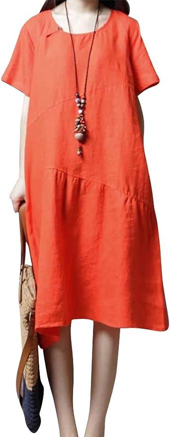 Mujeres De Lino De Algodón Rodilla Vestido Largo Mujer Manga Corta Vestidos De Diario Naranja 2XL: Amazon.es: Ropa y accesorios