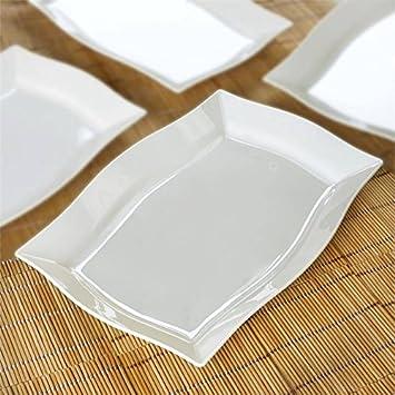 BalsaCircle 30 pcs 8-Inch Ivory Plastic Rectangular Plates - Disposable Wedding Party Catering Tableware & Amazon.com: BalsaCircle 30 pcs 8-Inch Ivory Plastic Rectangular ...