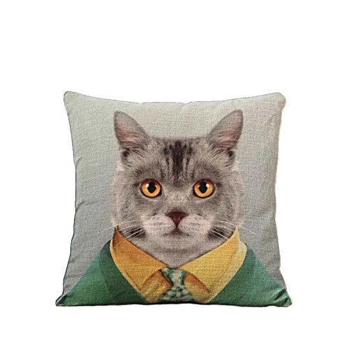 YOUR SMILE Cat Cotton Linen Square Decorative Throw Pillow Case Cushion Cover 18x18 Inch(44CM44CM) - Epacket Tracking Amazon