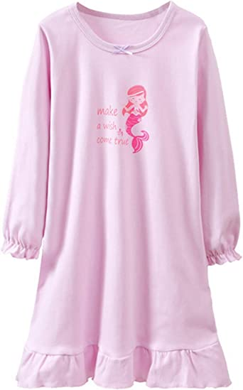 HOYMN - Camisón de noche para niña, algodón, diseño de caricatura, manga corta, para 3 – 12 T #2 Lila largo 120 cm/5-6 años: Amazon.es: Ropa y accesorios
