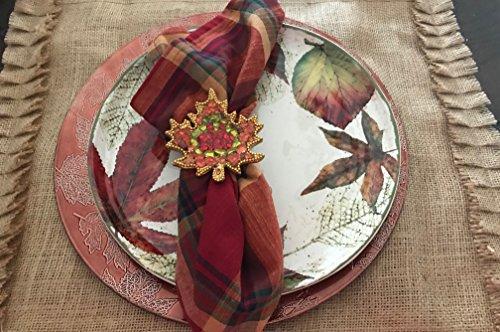 Set of 4 Burlap Ruffle Placemats Thanksgiving Dinner - Thanksgiving Placemat