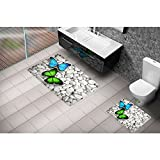 Serra Home Bath Rug Set Cici Dance of the Butterflies 3D 2 Closet Kit 60x100 cm, Luxury Washable Easy Care Quick Dry Large Pattern