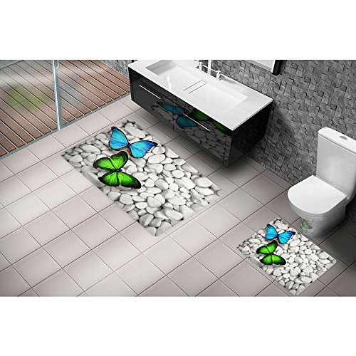 Serra Home Bath Rug Set Cici Dance of the Butterflies 3D 2 Closet Kit 60x100 cm, Luxury Washable Easy Care Quick Dry Large Pattern by Serra