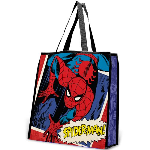 Vandor 26173 Marvel Spider-man Large Recycled Shopper Tote, Red, Blue, White, Yellow, and Black