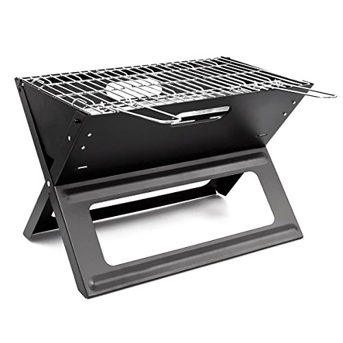 Relaxdays 10017881 - Barbacoa de picnic (acero), color negro