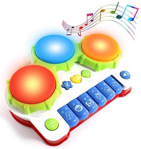 Haktoys Hand Drum and Keyboard Piano with LED Lights and Sound | Multi-Functional Colorful Buttons | Early Educational Learning Musical Instrument | Safe and Durable Toy for Infants, Toddlers and Kids -