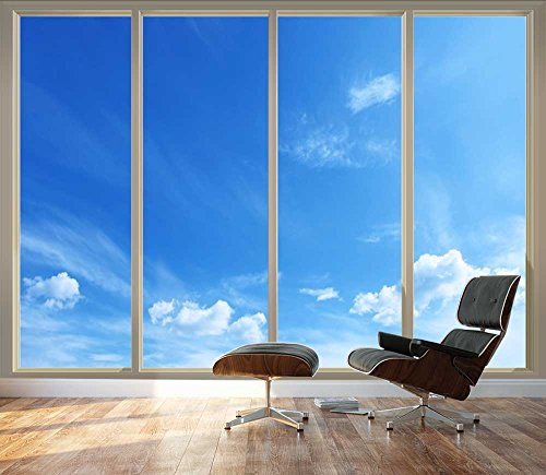Large Wall Mural Clear Blue Sky Seen Through Sliding Glass Doors 3D Visual Effect Vinyl Wallpaper Removable Decorating