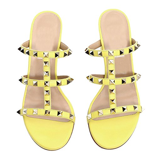 Jushee Yellow Heels Women's On Hollow Sandals Slippers Pu Rivets Mules Slip Studded Out Shoes Block pp1rwq