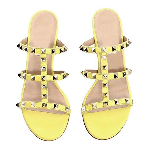 1 Tacco Paio Pu Donna MRB02 Sandali Ciabatte da Donna Con Punta Sandali Pantofola Sandali Scarpe e aperta Con Jushee Tacco Col alto alto Yellow AqRnx1