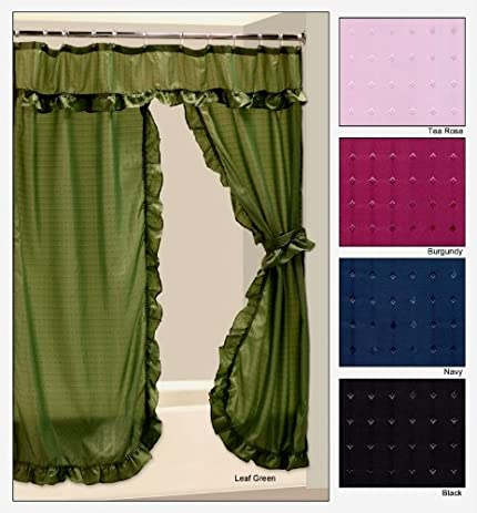 Tiara Double Swag Shower Curtain   TEA ROSE