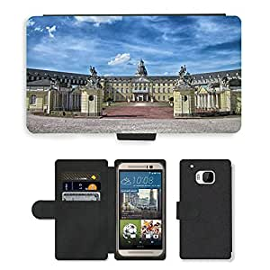 Hot Style Cell Phone Card Slot PU Leather Wallet Case // M00171704 Karlsruhe Germany Castle Landmark // HTC One M9