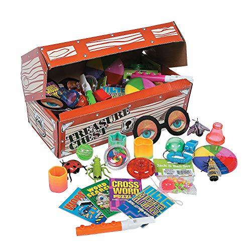 Fun Express - Deluxe Treasure Chest Toy Asst 50pc - Toys - Assortments - 50Pc Assortments - 51 Pieces (Teacher Treasure Box)