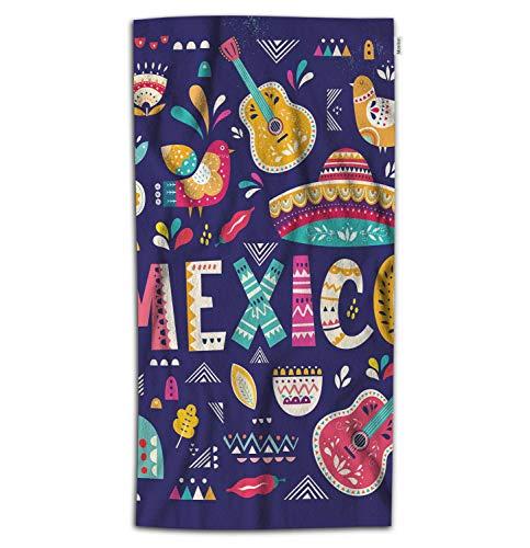Moslion Mexico Bath Towel Mexican Ethnic Art Folk Sombrero Music Guitars Bird Flower Rain Towel Soft Microfiber Baby Hand Beach Towel for Kids Bathroom 32x64 Inch