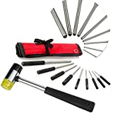 BEST ROLL PIN PUNCH SET & MALLET for Manly Men, 9 PC Comfort Grip Tools with Bonus Storage Case, Great for Gunsmiths, Jewelry and Watch Repair, & Handyman, #1 Hand Pin Remover Tool Kit!