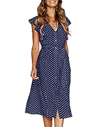 Women's Summer Boho Polka Dot Sleeveless V Neck Swing Midi Dress with Pockets