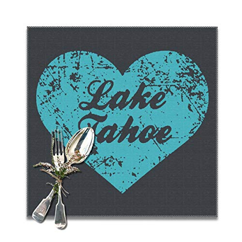 JML-LUV I Love Lake Tahoe Placemats Set of 6/4 for Dining Table Washable Non-Slip Wear and Heat Resistant Kitchen Table Mats Easy to Clean, 12x12 in