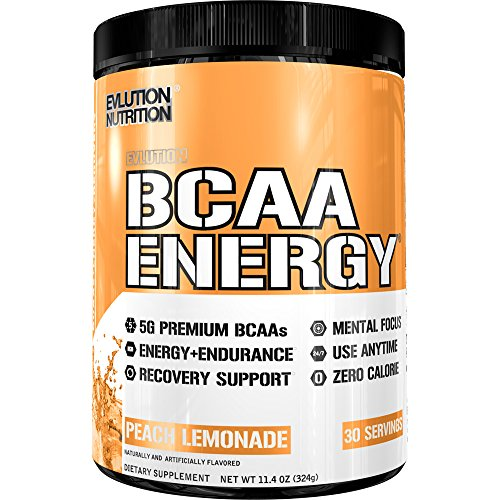 Evlution Nutrition BCAA Energy - High Performance, Energizing Amino Acid Supplement for Muscle Building, Recovery, and Endurance (Peach Lemonade, 30 Servings)