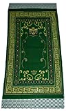 Islamic Portable Prayer Mat Muslim Janamaz Sajadah Namaz Sajjadah Thin - Green