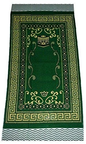 Islamic Portable Prayer Mat Muslim Janamaz Sajadah Namaz Sajjadah Thin - Green by Amn