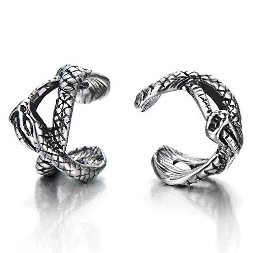 Gothique Serpent Clip-on Anneau - Boucles d'oreilles Créoles - pour Homme Femme - Acier - 1 paire