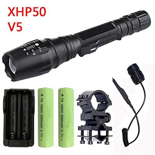 High Powerful Flashlight Torch Light 18650&26650 Battery Lantern,Option C ()