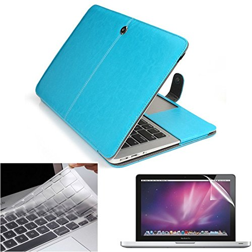 3IN1 Kit PU Leather Cover Case + Keyboard Cover + Screen Protector for Macbook Air 13 - Skyblue