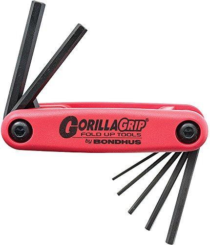 Bondhus 12592 GorillaGrip Hex Tip Fold Up Tool with ProGuard Finish, 7 Piece